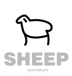 linear stylized drawing of sheep or ram vector image