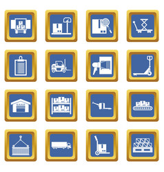 Logistic icons set blue vector