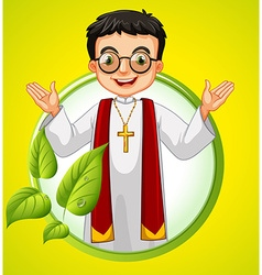 Logo design with priest and leaves vector