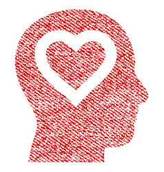 Love in head fabric textured icon vector