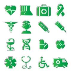 Medicine icons vecior3 green vector image vector image