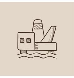 Offshore oil platform sketch icon vector