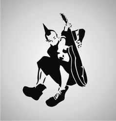 Punk guitarist stencil vector