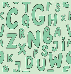 Seamless pattern with cute cartoon letters vector