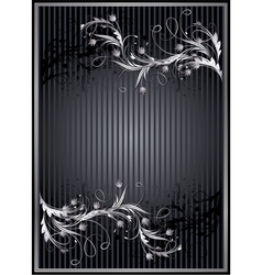 Striped background with silver ornament vector image vector image