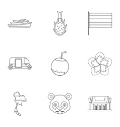 Tourism in Thailand icons set outline style vector image vector image