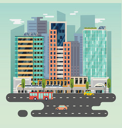 town or city with cars and train solar battery vector image