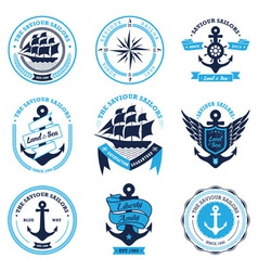 Vintage nautical labels set vector image vector image