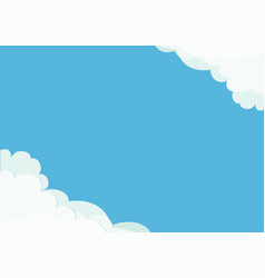 White cloud in corners frame template fluffy vector
