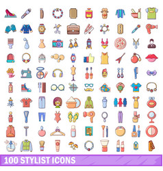 100 stylist icons set cartoon style vector