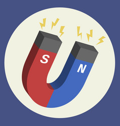 Red and blue horseshoe magnet vector
