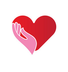 Heart in hands icon vector