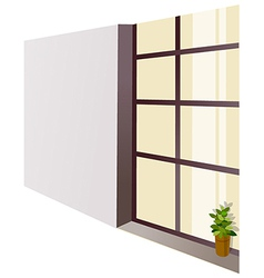 Window sill flowerpot vector