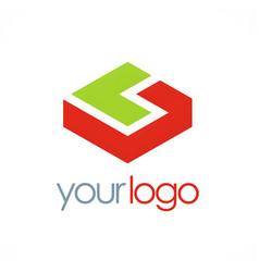 3d shape business logo vector image