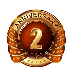 2 years anniversary golden label with ribbon vector image