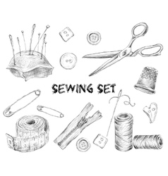 Sewing sketch set vector