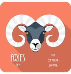 Zodiac sign aries icon flat design vector