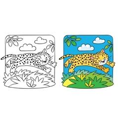 Little cheetah or jaguar coloring book vector