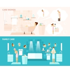 Family and woman care banner vector