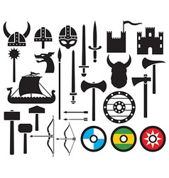Viking icon set vector
