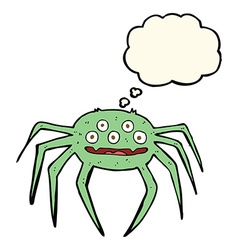 Cartoon halloween spider with thought bubble vector