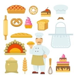 Bakery decorative flat icons set vector