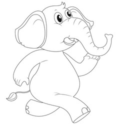 Animal outline for elephant running vector