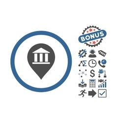 Bank Building Pointer Flat Icon With Bonus vector image