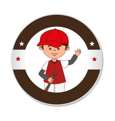 Baseball sport player character emblem icon vector