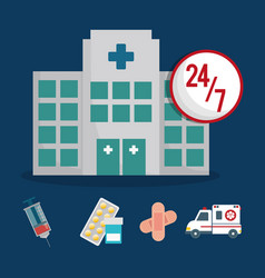 Building clinic service healthcare 24-7 vector