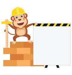 cartoon engineer monkey vector image vector image