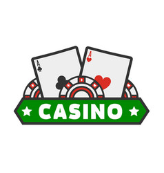 casino colorful logotype with cards isolated on vector image