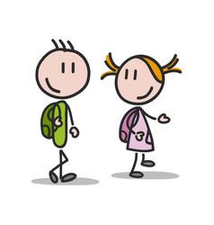 Children walking to school on white background vector