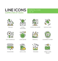 Computer Attacks - line design icons set vector image vector image