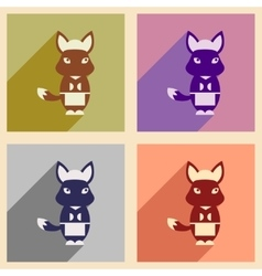 Concept flat icons with long shadow fox cartoon vector