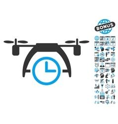 Drone clock flat icon with bonus vector