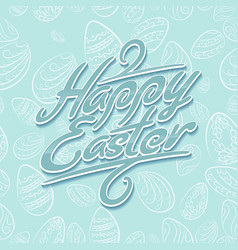 Easter lettering pattern blue vector