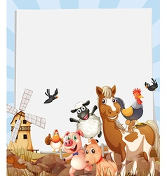 Farm animals living on farmland vector