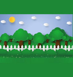 Forest landscape nature background paper art vector