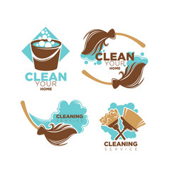 Home cleaning service icons set of brooms vector