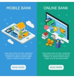Internet banking isometric vertical banners vector