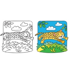 Little cheetah or jaguar coloring book vector