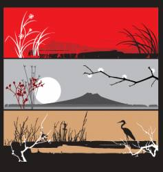 oriental landscape panels vector image vector image