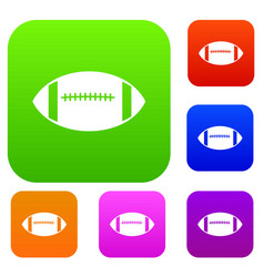 Rugby ball set collection vector