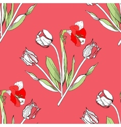 Seamless pattern with tulips flowers vector