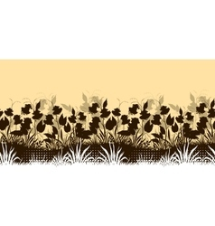 Seamless with ipomoea flowers vector