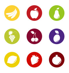 Set of fruit and berry icons on color background vector