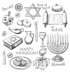Set of Happy Hanukkah designed elements vector image vector image