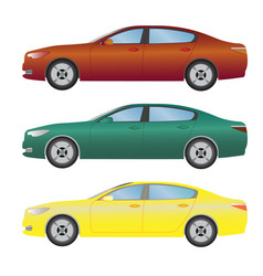 set the type of sedan cars of different colors vector image vector image