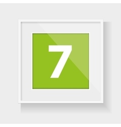 Square frame with number seven vector